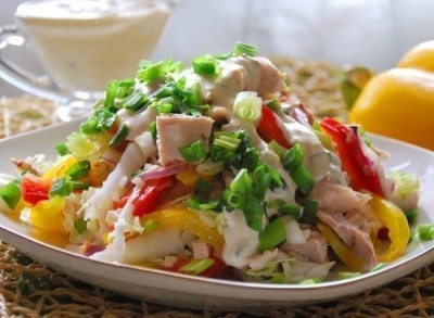 салат,курица,заправка,ингредиенты,горчица,сметана,чеснок